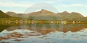 Lofoten's Village  Mirroring At Midnight Royalty Free Stock Image - Image: 6177246