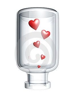Red Heart In Bottle Stock Image - Image: 6181791