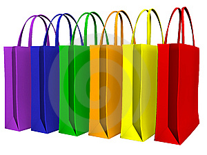 Colors shopping bags Stock Photos