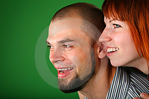 Beard Red Couple Smile Faces On Green Stock Photo - Image: 6186700