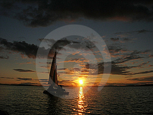 Sailboat At Sunset Stock Photography - Image: 6187872