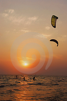 Silhouettes Of Kite Surfers Royalty Free Stock Photo - Image: 6188135