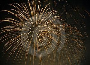 Orange Fireworks Exploding In Sky Royalty Free Stock Image - Image: 6192386