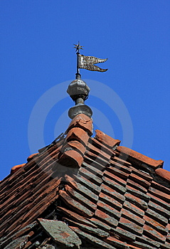 Rooftop With A Metal Flag Royalty Free Stock Image - Image: 6193686