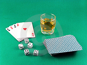 Ace Card Poker Gambling And Drink Stock Image - Image: 6195521
