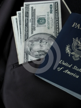 Dollars and passport Royalty Free Stock Photo