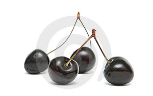 Two Berries Of A Sweet Cherry On A White Backgroun Royalty Free Stock Photo - Image: 6202555