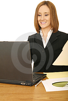 Business Woman Working With Laptop Royalty Free Stock Photography