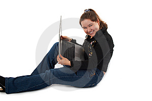 Girl With Notebook Sits On Floor Royalty Free Stock Photo - Image: 6210045