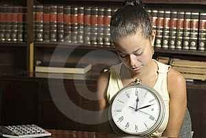 Girl With Clock - Horizontal Stock Photos - Image: 6213343