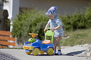 Small Boy And Car Royalty Free Stock Photography - Image: 6213787