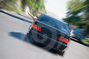 The Black Car In Acceleration Royalty Free Stock Photo - Image: 6216855