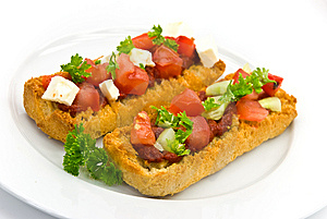 Bruschetta With Tomato,cheese And Other Stuffing Stock Photography - Image: 6220672