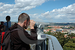 Man Is Looking Thr Binocular Royalty Free Stock Photography - Image: 6227347