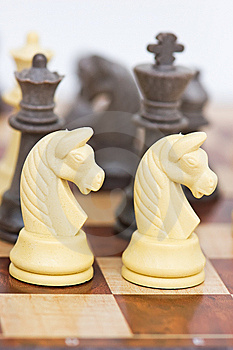 Chess board with chess pieces Royalty Free Stock Photo