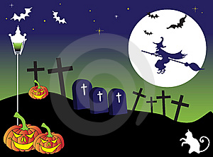Witch Flying On A Broom Royalty Free Stock Photography - Image: 6229077