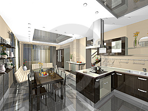 3dmax Kitchen, Guest Stock Photos - Image: 6234113
