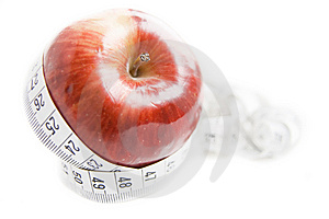 Apple With Measuring Tape Stock Photo - Image: 6235560