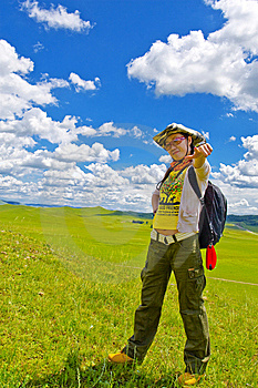 Happy Girl On Meadow,sky Royalty Free Stock Photo - Image: 6236665