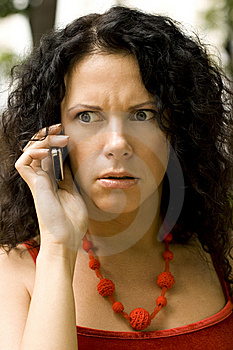 Woman On Phone Getting Bad News Stock Photo - Image: 6239320