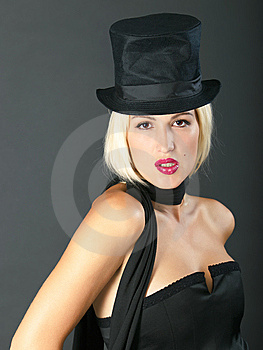 Blonde Woman In Black Hat. Stock Photography - Image: 6239882