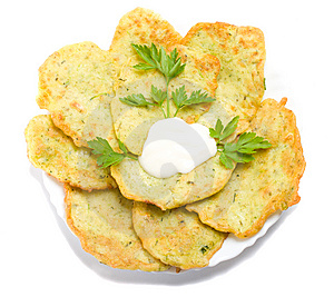 Pancake From Marrow With Parsley View From Above Royalty Free Stock Image - Image: 6240266
