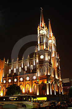 Cathedral In Ningbo By Night Stock Image - Image: 6241651