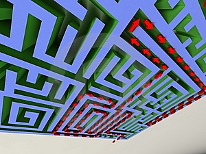 3D Labyrinth With Red Arrow Stock Photos - Image: 6241913