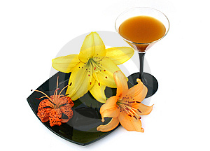 Lily And Wineglass Royalty Free Stock Photos - Image: 6242128
