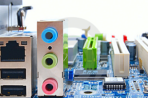 Motherboard sockets Royalty Free Stock Photos