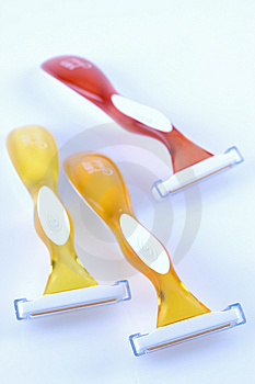 Three Shavers On A Pale Blue Background Royalty Free Stock Photo - Image: 6248135
