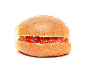 Sandwich With Red Caviar Isolated On White Royalty Free Stock Image - Image: 6251216