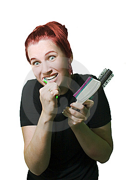 Funny Woman With Combs Stock Photography - Image: 6251282