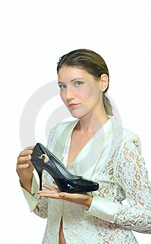 Woman And Shoe Isolated On White Royalty Free Stock Photography - Image: 6251317