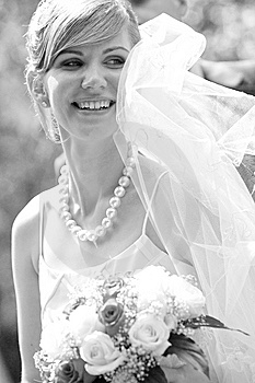 Young Beautiful Bride With Flowers Outdoor Stock Photo - Image: 6259650