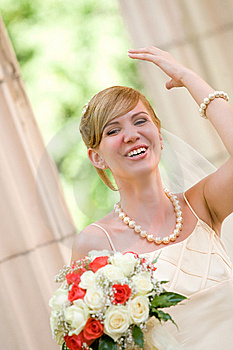 Young Beautiful Bride With Flowers Outdoor Royalty Free Stock Image - Image: 6259686