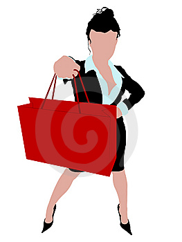 Sexy Business Woman Standing With A Shopping Bag Royalty Free Stock Images - Image: 6265989