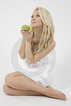 Young Female With Green Apple Royalty Free Stock Photo - Image: 6275225