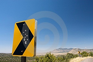 Gun Shot Holes Through A Rural Road Sign Stock Image - Image: 6284611