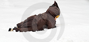 Baby Crawling In Snow Royalty Free Stock Photo - Image: 6285865