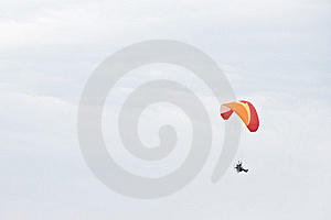 Single Paraglider On A Cloudy Day Stock Photo - Image: 6286240