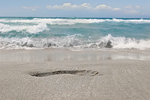 Footprint On Sand Beach Stock Photos - Image: 6287803