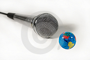 Microphone And A Small Globe Stock Image - Image: 6289551