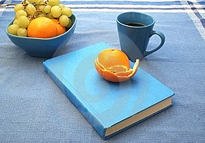 Blue Book And Fruit Royalty Free Stock Images - Image: 6307399