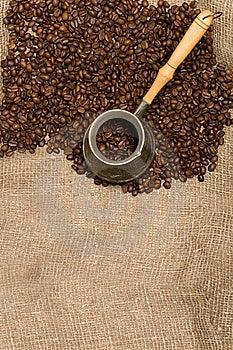 Cezve With Freshly Roasted Coffee Beans Stock Photo - Image: 6312400