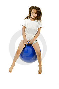 Young Girl On A Space Hopper Royalty Free Stock Image - Image: 6314566