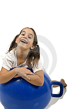 Young Girl On A Space Hopper Royalty Free Stock Photography - Image: 6314657