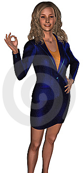 Businesswoman In A Blue Costume 2 Royalty Free Stock Image - Image: 6317876