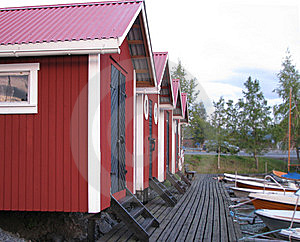 Red Sheds In The Sunset Royalty Free Stock Image - Image: 6321106