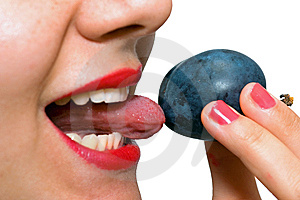 Girl Eating A Plum, Licking It Royalty Free Stock Photo - Image: 6324355